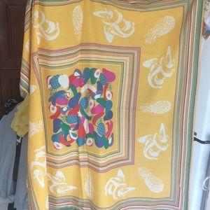 Colorful cotton 50 inch square yellow/multi scarfl